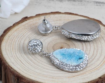 Natural Blue Quartz Druzy Drop Earrings - Blue Druzy Earrings With Pave Rhinestone Wedding Jewelry Bridesmaid Earrings Gift For Her