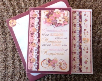 Grandmother birthday card with matching insert and envelope.