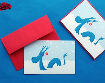 Funny Christmas Snow Dragon Holiday Cards Set, Greeting Card & Note Cards Set, Thank You Cards Set