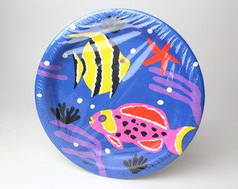Vintage 80s Cheryl Ann Johnson Reef Fish Paper Plates - Set of 10 Party Plates by Paper Art - 1986 Lunch Luncheon Aquatic Sea Coral Starfish