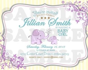 Sweet Elephant Baby Shower Invitation (Girl)