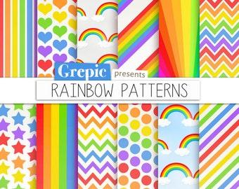 "Rainbow digital paper: ""RAINBOW PATTERNS"" digital paper pack w chevron, polkadots, stripes, dots, stars, rainbows and patterns in multicolor"