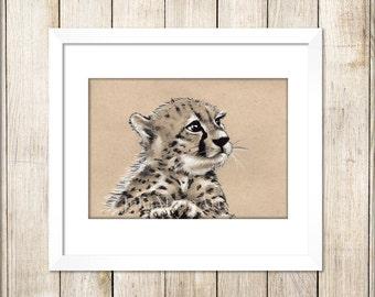 Cheetah Cub Art Print, Cheetah Drawing, Cheetah Art, Ready to Frame, Unframed Art Print, Wildlife Art, Animal Drawing, Nursery Art