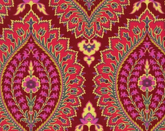 LAMINATED cotton fabric by the 1/2 yard (similar to oilcloth) Alchemy Imperial Paisley zinnia - BPA free  - Approved for children