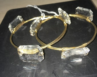 Pair of Bangle Bracelets with Crystals
