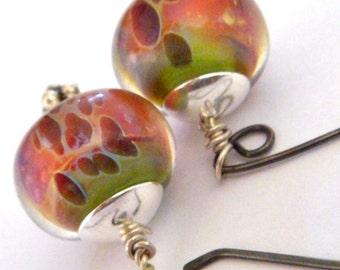 sterling silver earrings  boro lamp work earrings glass earrings