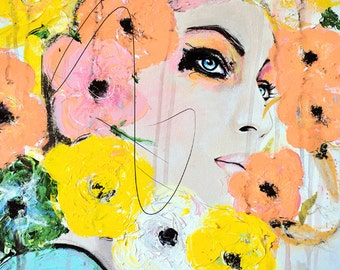 Collide - Fashion, Beauty, Mixed Media Painting Art Print by Leigh Viner