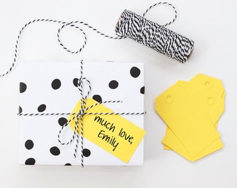 Paper Gift Tags Yellow Hang Tags Solid Color Paper Tag Wedding Favor Gift Basket Yellow Party Supplies Wrapping Paper Gift Wrap / Set of 10
