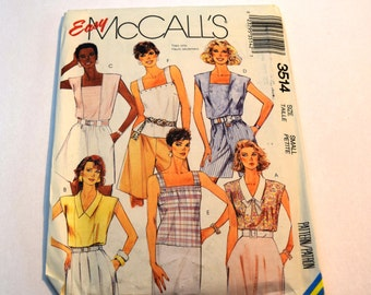 Vintage 1980s McCalls 3514 pullover tops sleeveless sewing pattern