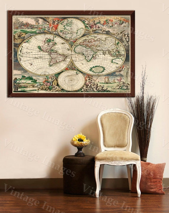 Giant Old World Map VINTAGE Map HISTORIC 1689 Antique Amsterdam Copper Plate Style Map Fine Art wall map home decor