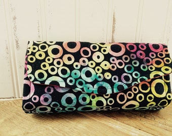Black and Multi-color Batik Wallet Clutch