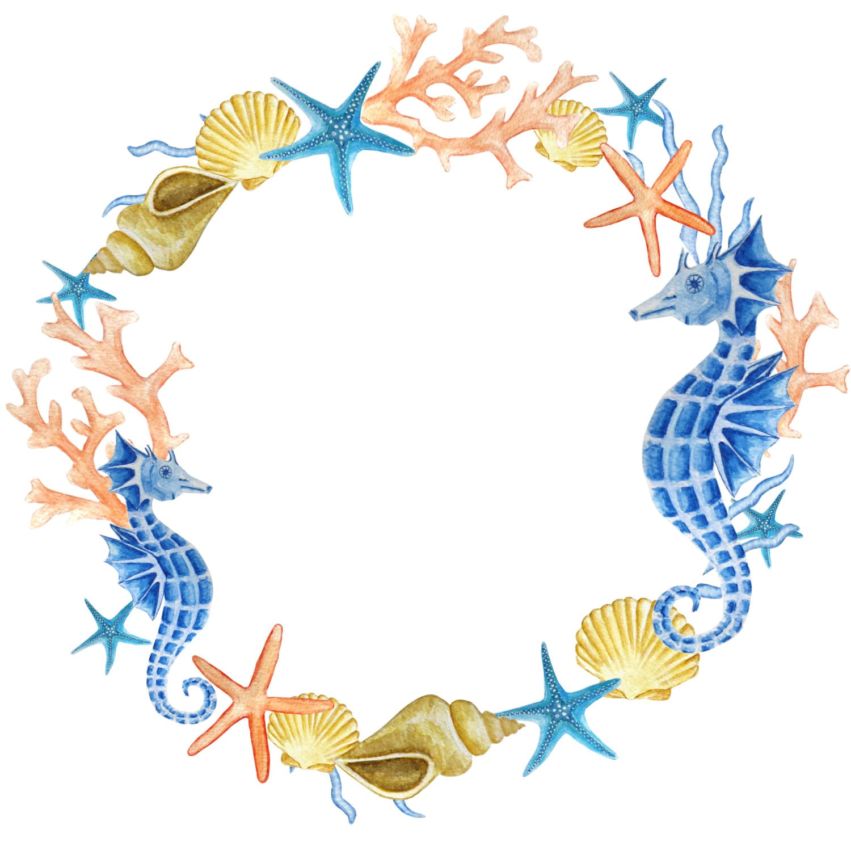 watercolor wreath clipart sea clipart ocean wreath seahorse rh etsystudio com sea clip art free sea clipart black and white