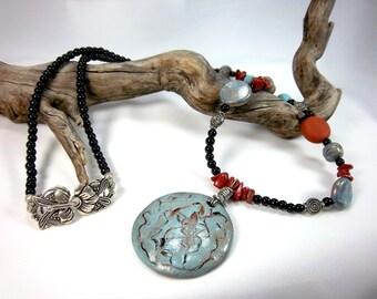 Sale, Necklace - Southwestern. Clay Focal, Red Jasper, Black, OOAK, Longer Necklace