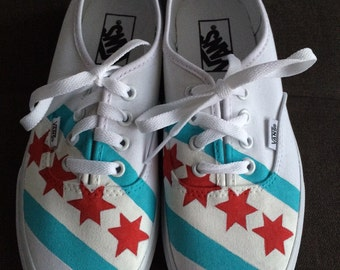 CHICAGO FLAG & SKYLINE Shoes (Vans) - hand painted