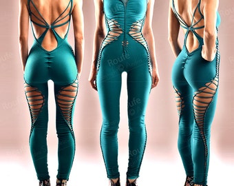 Open Back Formfitting Catsuit - Cotton Jersey Playsuit Sexy Jumpsuit Stretchy Romper Braided Rumper Festival Wear Party Outfit Made to Order