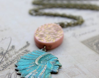 Verdigris Patina Indian, Tribe, Boho, Southwestern, New Mexico, Hipster Necklace