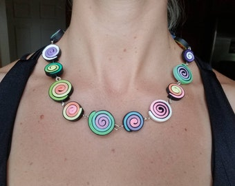 Polymer clay spiral necklace