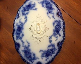W H Grindley Blue Flow Florida Covered Vegetable Bowl