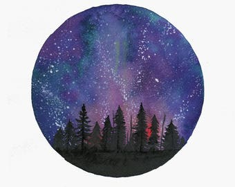 "Print of original watercolor of ""Heights"", starry sky circular painting"