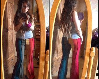 6 tone / rainbow Vertical striped fleece flares.