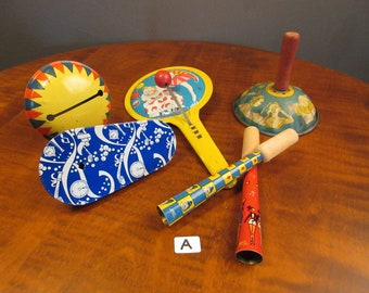 Set of vintage tin noisemakers, choice of 3 sets