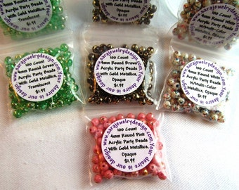 100 Count 4mm Acrylic Party Beads, Choice of Four Colors