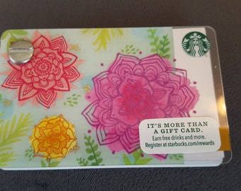 Starbucks Upcycled Refillable Giftcard Notebook - 2016 Spring Flowers