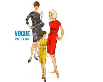 Vogue 6852 Womens Mod Dress with Inset Waistband RARE 60s Vintage sewing pattern Size 14 Bust 36 inches UNCUT Factory Folded