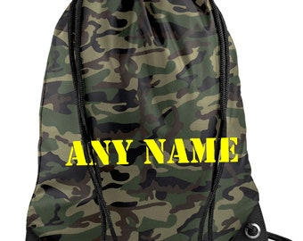 Personalised Camouflage/Army PE/Swim Duffle/Drawstring Bag - *Choice of colours*