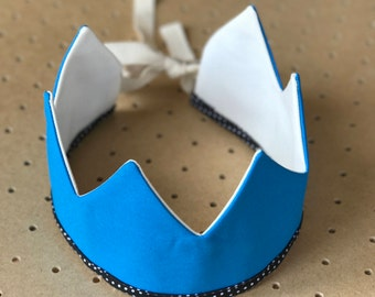 Fabric Crown / Peacock Blue and Ecru