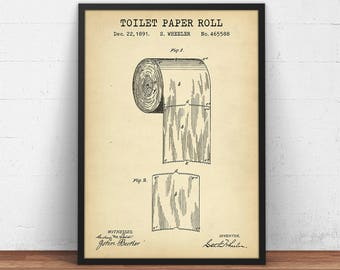 Toilet roll patent etsy toilet paper patent print bathroom decor digital download blueprint art powder room wall art lavatory loo poster printable restroom art malvernweather Images