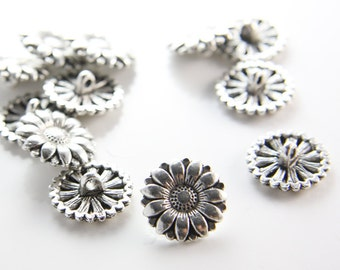 12pcs Oxidized Silver Tone Base Metal Findings-Button 17mm (15359Y-B-353)