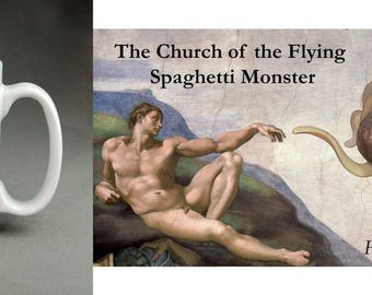 "Church of the Flying Spaghetti Monster ""He boiled for our sins"" 11oz Large Handle Mug. Great gift. Christmas, birthday, stocking filler"