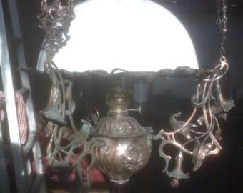 """Chandelier  Antique kerosene  19th century """"20"""" Matador  Berlin*  with a counterweight."""
