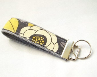 Wristlet Key Fob Key Chain in Aviary II - Bloom in Granite - Fabric Keychain