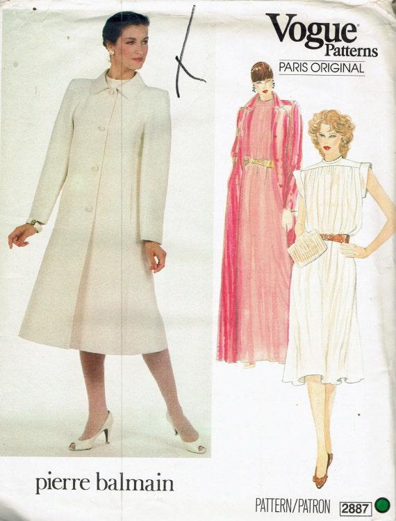 BALMAIN Size 12 Misses\' Dress & Coat Sewing Pattern A