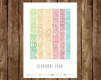 UK Seasonal Food Poster (print)