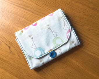 Handmade Customisable All in One Nappy Clutch and Baby Change Mat