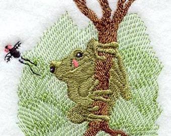 Optimistic Frog Towel Embroidered Flour Sack Hand/Dish Towel