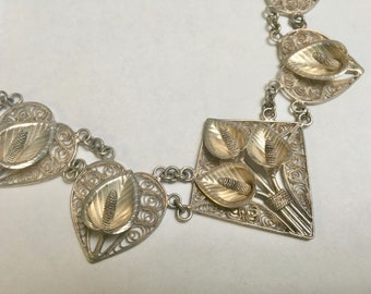 spun silver lily necklace, sterling