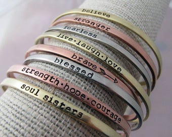 Skinny Cuffs, Hand Stamped With Your Text, Silver, Copper, Gold Toned, Inspirational Jewelry, Stamped Bracelet, believe, blessed, brave