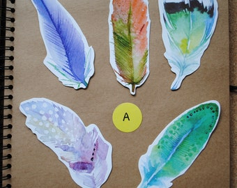 5 Cute Shaped Kawaii Feather Postcards for Snail Mail, Pen Pals, Journal Inserts, Scrapbooking, Party Bags, Stationery, Greetings Cards