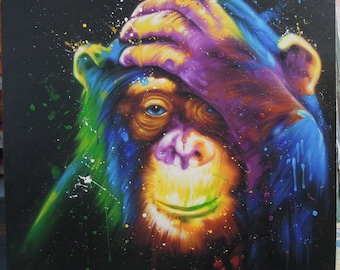 "Colorful Monkey painting oil painting on canvas 40""X40"""