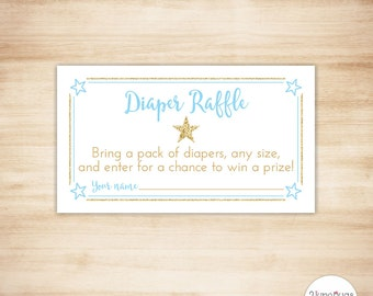 Star Baby Shower Diaper Raffle Ticket, Twinkle Twinkle Little Star Baby Boy Shower Game, Blue Gold Glitter Star, PRINTABLE INSTANT DOWNLOAD