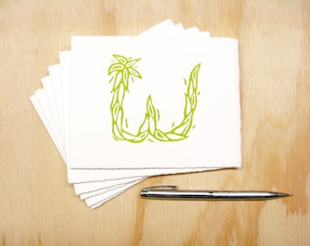 Letter W Stationery - Personalized Gift - Set of 6 Block Printed Cards
