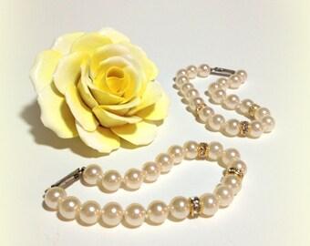Mother & Daughter Pearls, Faux Pearl Bracelet, Rhinestone Spacers, Vintage Pearls, Bridesmaid Jewelry, Wedding Pearls, Bridal Party Gift