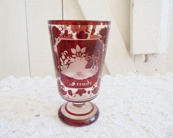 Cup Ruby happiness joy Bohemia bath glass