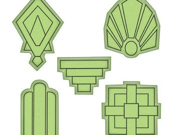 Inkadinkado Stamping Gear Art Deco Shapes Design Elements Cling Rubber Stamp