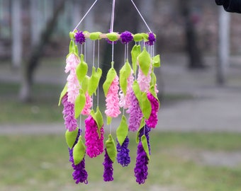 Flower Baby Mobile/ Felt Flower Mobile / Flower chandelier nursery mobile /Elegant Bedroom Decor / Baby mobile / baby girl mobile