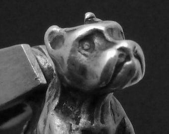 Vintage Sterling Silver Boxer Pit Bull Dog Charm Pendant 22891